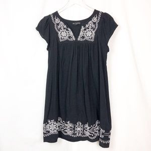 BLACK BOHO PESANT EMBROIDERED TUNIC DRESS